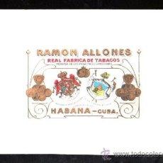 Vitolas de colección: HABILITACION. VISTA. BOFETON. MARCA RAMON ALL ONES, PINAR DEL RIO, LA HABANA. Lote 29483424