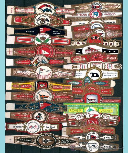 LOTE CON 61 ANILLAS DIFERENTES DEL TEMA -BANDERAS- LA MAYORIA CUBANAS. PERFECTAS. (Coleccionismo - Objetos para Fumar - Vitolas)