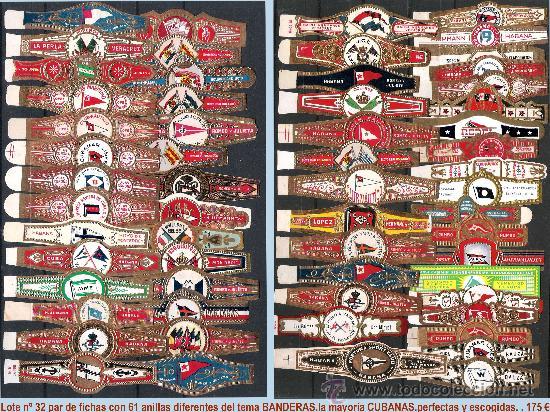 Vitolas de colección: LOTE CON 61 ANILLAS DIFERENTES DEL TEMA -BANDERAS- LA MAYORIA CUBANAS. PERFECTAS. - Foto 3 - 33412449