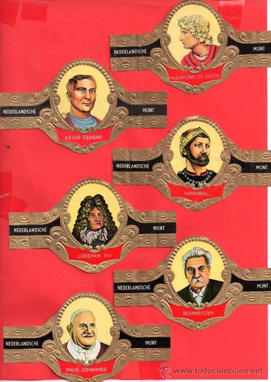 SERIE COMPLETA DE100 VITOLAS DE PERSONAJES DE NEDERLANDSCHE MUNT HOMBRES TIRANOS VER FOTO ADICIONAL (Coleccionismo - Objetos para Fumar - Vitolas)