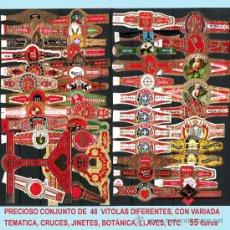 Vitolas de colección: PRECIOSO LOTE CON 48 VITOLAS DIFERENTES TEMATICAS. MUY INTERESANTE. .. Lote 33841070