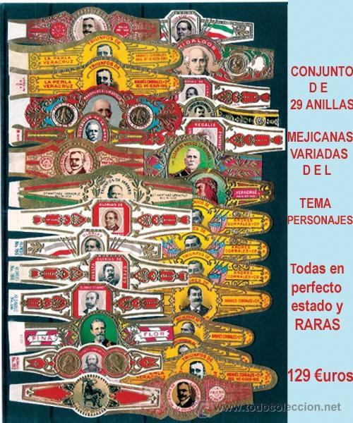 CONJUNTO DE 29 ANILLAS MEJICANAS DIFERENTES DE - PERSONAJES -.MUY RARAS. (Coleccionismo - Objetos para Fumar - Vitolas)