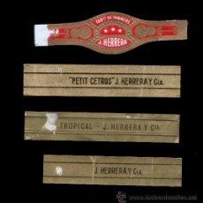 Vitolas de colección: 4 VITOLAS DE MARCAS CANARIAS ANTIGUAS - J. HERRERA. Lote 38709930