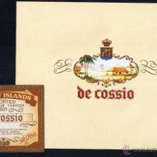 Anéis de charuto de coleção: HABILITACION (CANARIAS)- VISTA + PAPELETA . TITULO: DE COSSIO. TEMA: EDIFICACIONES, ESCUDOS. Lote 39373140