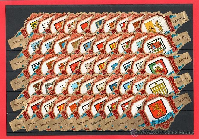VITOLAS. SERIE DE VITOLAS COMPLETA (50 UNID). CAPOTE. ESCUDOS DE PROVINCIAS ESPAÑOLAS. (Coleccionismo - Objetos para Fumar - Vitolas)