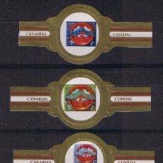 Anéis de charuto de coleção: VITOLA CLASICA .- CONDAL (CANARIAS) .- ESPECIALES PARTICULARES (LA CAZUELA) (3 VITOLAS) . Lote 43419998