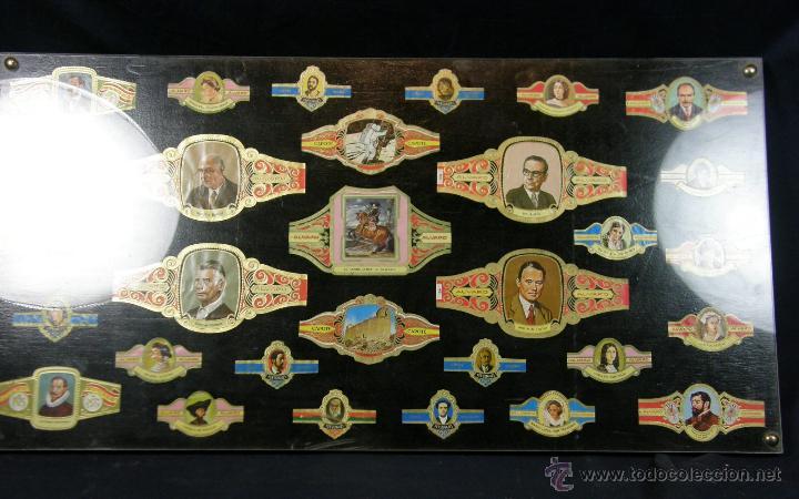 VITOLAS ANTIGUAS ALVARO Y CAPOTE CUADRO 30 VITOLAS ENMARCADAS ÁLVARO CAPOTE 61 X 31 CM (Coleccionismo - Objetos para Fumar - Vitolas)