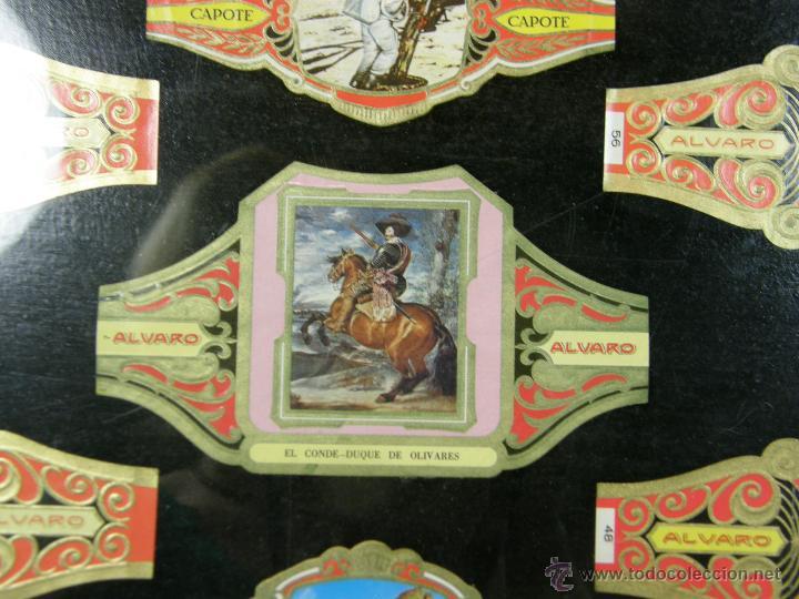 Vitolas de colección: vitolas antiguas alvaro y capote cuadro 30 vitolas enmarcadas Álvaro capote 61 x 31 cm - Foto 8 - 44282305