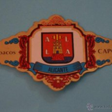 Vitolas de colección: VITOLA DE:ESCUDOS PROVINCIAS DE ESPAÑA,ALICANTE,Nº3,DE CAPOTE. Lote 74360693