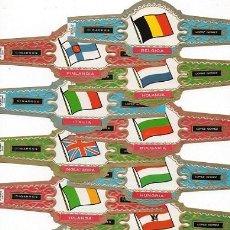 Bagues de cigare de collection: SERIE DE VITOLAS COMPLETA (33 UNIDADES). TABACOS LÓPEZ GÓMEZ. BANDERAS DE EUROPA. 15,50 X 5,70 CMS.. Lote 46690027