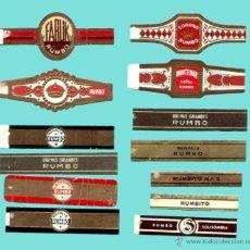 Anéis de charuto de coleção: 13 VITOLAS CANARIAS ANTIGUAS DE LA MARCA RUMBO. Lote 53182961