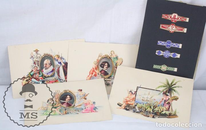 CONJUNTO DE 4 ACUARELAS - ILUSTRACIONES ORIGINALES PARA VITOLAS Y HABILITACIONES DE TABACO (Coleccionismo - Objetos para Fumar - Vitolas)