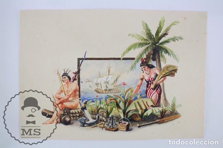 Vitolas de colección: Conjunto de 4 Acuarelas - Ilustraciones Originales para Vitolas y Habilitaciones de Tabaco - Foto 2 - 66686170