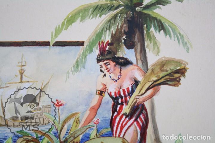 Vitolas de colección: Conjunto de 4 Acuarelas - Ilustraciones Originales para Vitolas y Habilitaciones de Tabaco - Foto 3 - 66686170