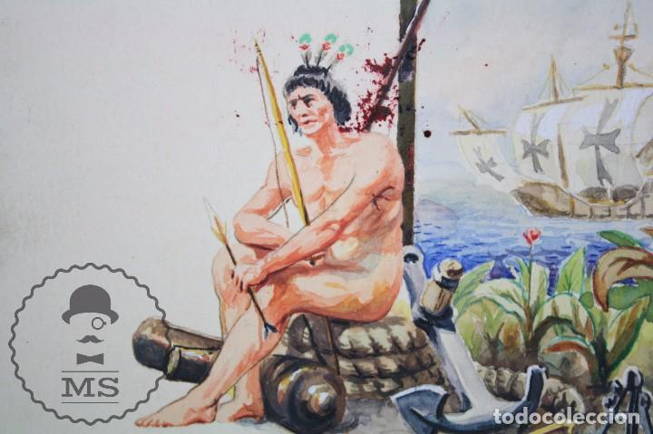 Vitolas de colección: Conjunto de 4 Acuarelas - Ilustraciones Originales para Vitolas y Habilitaciones de Tabaco - Foto 4 - 66686170