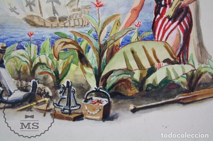 Vitolas de colección: Conjunto de 4 Acuarelas - Ilustraciones Originales para Vitolas y Habilitaciones de Tabaco - Foto 5 - 66686170