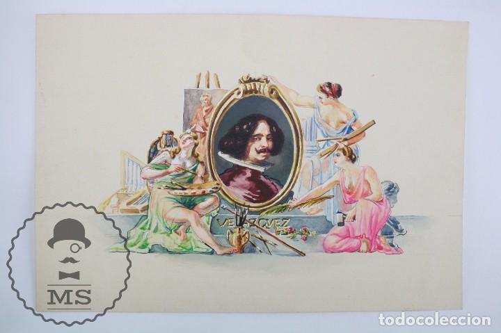 Vitolas de colección: Conjunto de 4 Acuarelas - Ilustraciones Originales para Vitolas y Habilitaciones de Tabaco - Foto 6 - 66686170