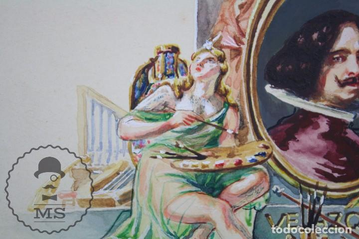 Vitolas de colección: Conjunto de 4 Acuarelas - Ilustraciones Originales para Vitolas y Habilitaciones de Tabaco - Foto 7 - 66686170