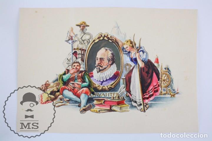 Vitolas de colección: Conjunto de 4 Acuarelas - Ilustraciones Originales para Vitolas y Habilitaciones de Tabaco - Foto 13 - 66686170