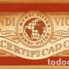 Anéis de charuto de coleção: LITOGRAFÍA - HABILITACIÓN - ETIQUETA MUNDI VICTOR.. Lote 81672676