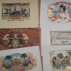 Vitolas de colección: LOTE DE 6 LITOGRAFIAS HABANOS CUBANOS - VER FOTOS, SE MUESTRAN TODOS. Lote 99419783