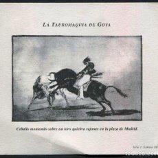 Vitolas de colección: CIGARCANARIA - REPRODUCCION DE GRABADO DE LA TAUROMAQUIA DE GOYA / SERIE I LAMINA 10. Lote 104292891