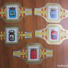 Vitolas de colección: LOTE DE 5 VITOLAS-ESCUDOS PROVINCIAS ESPAÑOLAS-MURCIA-GRAN CANARIA-MALAGA-GUIPUZCOA-HUELVA. Lote 114468919