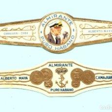 Vitolas de colección: 2 VITOLAS CUBANAS ANTIGUAS - MARCA ALMIRANTE. FABRICANTE ALBERTO MAYA (CAMAJUANI - CUBA). Lote 130980217