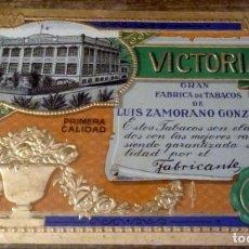Vitolas de colección: LITOGRAFIA DE PUROS - VICTORIA - LUIS ZAMORANO GONZALEZ, MUY RARA. Lote 134326542