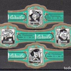 Vitolas de colección: CARAIBE, LOS PICAPIEDRAS, VERDE, 4 VITOLAS, SERIE COMPLETA.. Lote 137193382