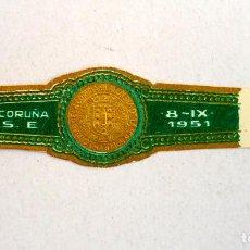 Vitolas de colección: VITOLA LA CORUÑA A.S.E. 1951. Lote 137194742