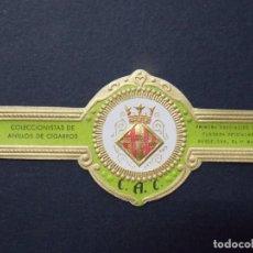 Vitolas de colección: RARA VITOLA Nº1 - ESCUDO BARCELONA - COLECCIONISTAS ANILLOS DE CIGARROS, C.A.C. FUNDADA 1949 .. A810. Lote 145825334