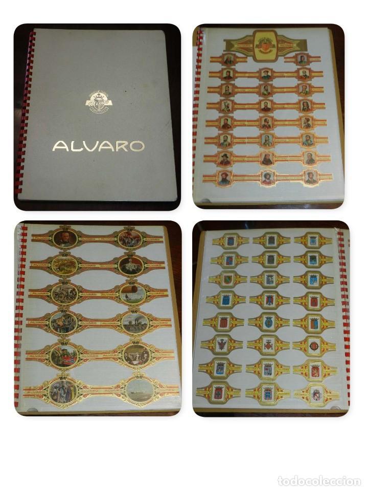 ÁLBUM DE VITOLAS ÁLVARO, FÁBRICA DE TABACOS. (135 VITOLAS). CONQUISTADORES, ESCUDOS DE LAS PROVINCIA (Coleccionismo - Objetos para Fumar - Vitolas)