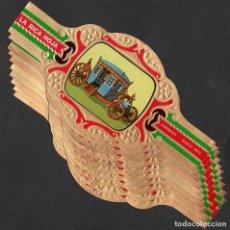 Bagues de cigare de collection: LA RICA HOJA. SERIE DE VITOLAS COMPLETA (10 UNID). ANTIGUAS CARROZAS.. Lote 154838166