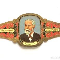 Vitolas de colección: VITOLA - FABRICA TABACOS ALVARO - Nº 13 - SERIE PREMIOS NOBEL - FERDINAND BRAUN - ALEMANIA 1909. Lote 155852930