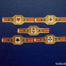 Vitolas de colección: PRINCEPS, ASES DE POKER, 5 VITOLAS, SERIE COMPLETA.. Lote 155990106