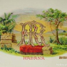 Vitolas de colección: HABILITACIÓN BOCETÓN TABACOS HABANA CUBA SIN IDENTIFICAR LITOGRAFIADA Y DORADA. Lote 157387282