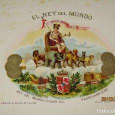 Vitolas de colección: HABILITACIÓN VISTA INTERIOR TABACOS HABANA CUBA EL REY DEL MUNDO LITOGRAFIADA Y DORADA. Lote 157387890