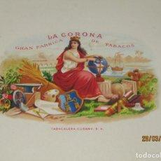 Vitolas de colección: HABILITACIÓN VISTA INTERIOR TABACOS HABANA CUBA LA CORONA LITOGRAFIADA Y DORADA. Lote 157388386