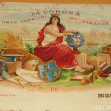 Vitolas de colección: HABILITACIÓN VISTA INTERIOR TABACOS HABANA CUBA LA CORONA LITOGRAFIADA Y DORADA. Lote 157388574