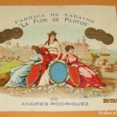 Vitolas de colección: HABILITACIÓN VISTA INTERIOR TABACOS HABANA CUBA LA FLOR DE PILOTOS LITOGRAFIADA Y DORADA. Lote 157390030