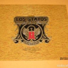 Vitolas de colección: HABILITACIÓN VISTA INTERIOR TABACOS HABANA CUBA LOS STATOS DE LUXE LITOGRAFIADA Y DORADA. Lote 157405574