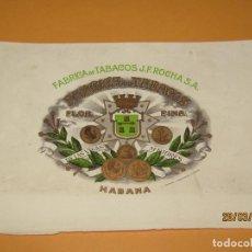 Vitolas de colección: HABILITACIÓN BOCETÓN TABACOS HABANA CUBA J. F. ROCHA LITOGRAFIADA Y DORADA. Lote 157413354