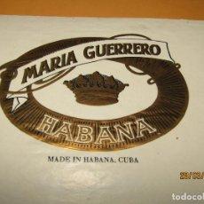 Vitolas de colección: HABILITACIÓN VISTA INTERIOR TABACOS HABANA CUBA MARÍA GUERRERO LITOGRAFIADA Y DORADA. Lote 157508474