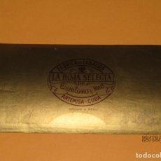 Vitolas de colección: HABILITACIÓN VISTA INTERIOR TABACOS HABANA CUBA LA HOJA SELECTA LITOGRAFIADA Y DORADA. Lote 157508982