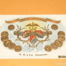 Vitolas de colección: HABILITACIÓN VISTA INTERIOR TABACOS HABANA CUBA DON PABLO LITOGRAFIADA Y DORADA. Lote 157518470
