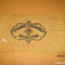 Vitolas de colección: HABILITACIÓN VISTA EXTERIOR TABACOS HABANA CUBA F. GARCÍA Y HERMANOS LITOGRAFIADA Y DORADA. Lote 157531270