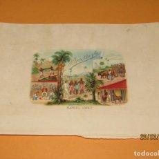 Vitolas de colección: HABILITACIÓN BOCETÓN TABACOS CUBA HABANA H. VALLE DE MANUEL LÓPEZ LITOGRAFIADA Y DORADA. Lote 157935438