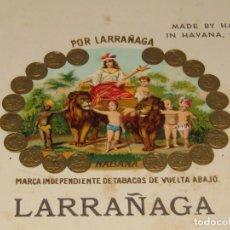 Vitolas de colección: HABILITACIÓN VISTA INTERIOR TABACOS CUBA HABANA POR LARRAÑAGA LITOGRAFIADA Y DORADA. Lote 157937454