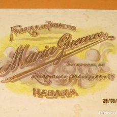Vitolas de colección: HABILITACIÓN BOCETÓN TABACOS CUBA HABANA MARIA GUERRERO LITOGRAFIADA Y DORADA. Lote 157937654